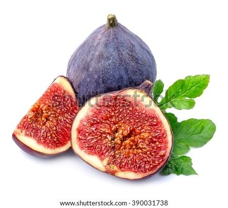 Fresh figs fruits isolated on white backgrounds. - stock photo