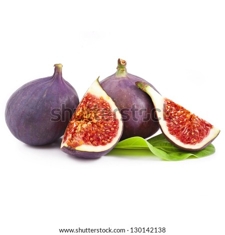 fresh figs isolated on a white background - stock photo