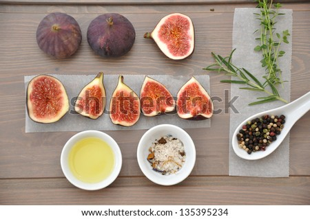 Fresh Figs on a cutting board - stock photo