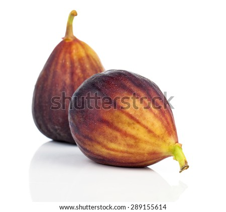 fresh figs on a white background - stock photo