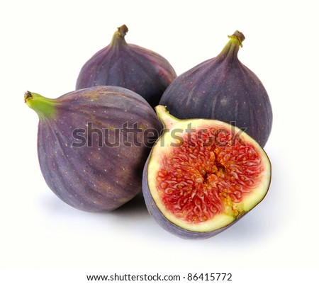 fresh figs on a white background - stock photo