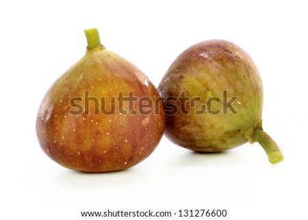 Fresh figs on white - stock photo