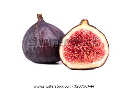 Fresh figs with half cut isolated on white background - stock photo