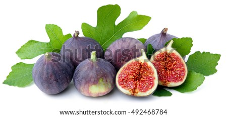 Fresh figs  with leaves.