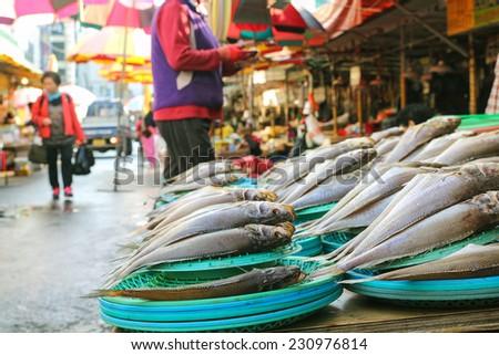 Fresh fish at Jagalchi Fish market, Busan, Korea - stock photo