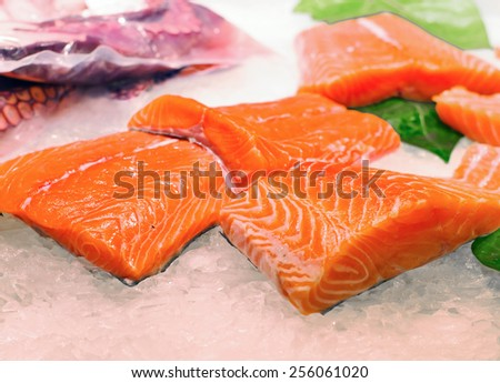 fresh fish at  La Boqueria market in Barcelona - stock photo