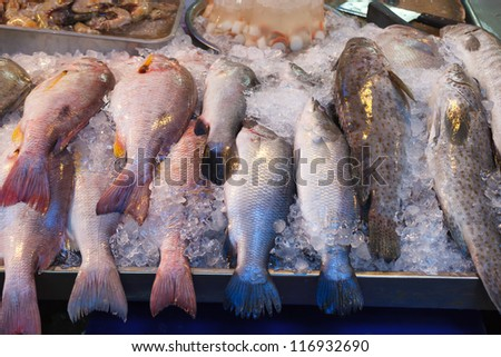 Fresh fish at seafood market in Thailand. - stock photo