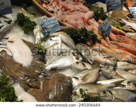 Fresh fish on ice  in the market of  Les Halles, Avignon, France