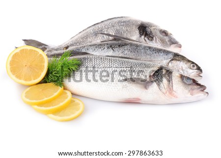 Fresh fish with dill and lemon isolated on white