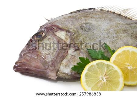 Fresh fish with lemon and parsley isolated - stock photo