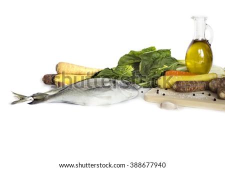 Fresh fishisolated on white  background - stock photo