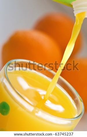 Fresh Florida Orange Juice pouring into a glass.