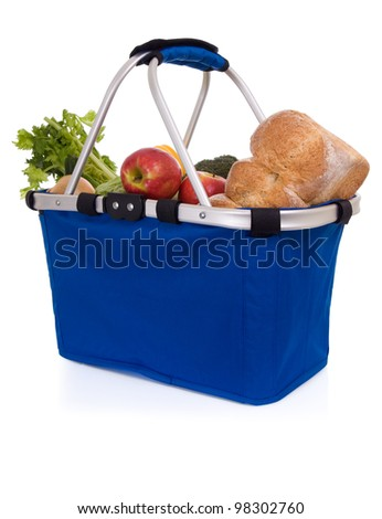 Fresh food: basket of groceries, isolated on white background.