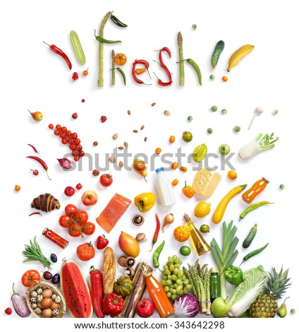 Fresh food choice / healthy food symbol represented by foods explosion to show the health concept of eating well with fruits and vegetables. Healthy food background, top view. High resolution product, - stock photo