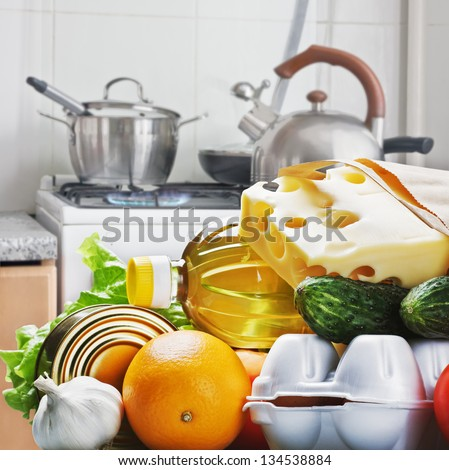 fresh food for longevity against the home kitchen - stock photo
