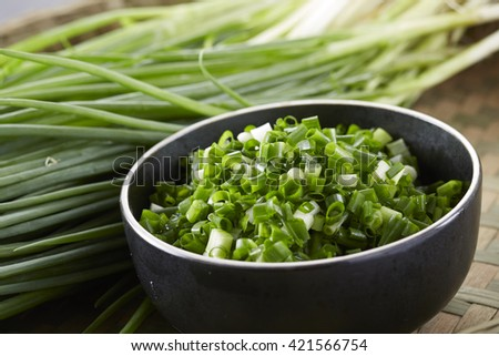 Fresh food ingredients,green onion - stock photo