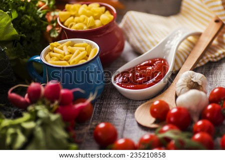 Fresh food on the table - stock photo