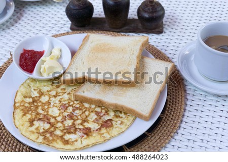 Fresh fried egg and bread