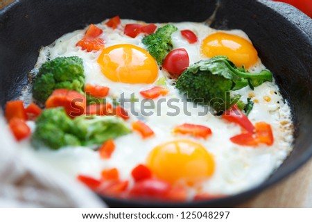 fresh fried eggs with vegetables in a pan, closeup