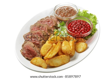fresh fried meat isolated on white background - stock photo