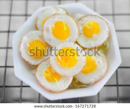 Fresh Fried Quail Eggs - stock photo