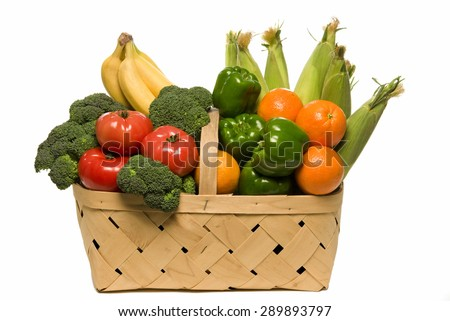 Fresh from the garden vegetables and fruits/ Basket Full Of Fresh Fruits And Vegetables