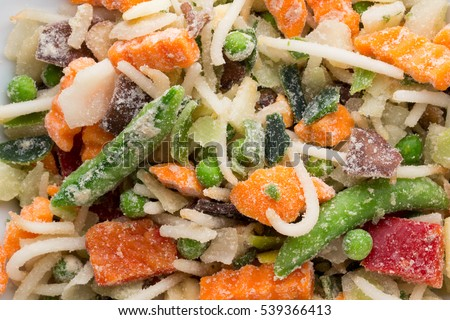 Fresh frozen vegetables in a white plate.