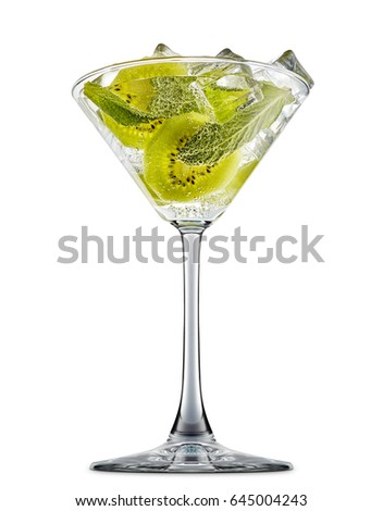 fresh fruit alcohol cocktail or mocktail in martini glass with ice cubes, kiwi and mint isolated on white background