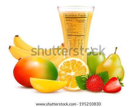 Fresh fruit and a glass of juice with a nutrition facts label. Raster version. - stock photo