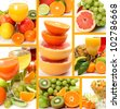 Fresh fruit and juice - stock photo