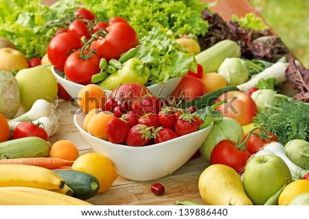 Fresh fruit and vegetable - healthy food - stock photo