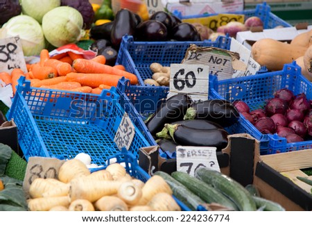 fresh fruit and vegetables at a farmers market. - stock photo