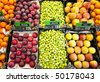 Fresh fruit and vegetables at a greengrocer - stock photo