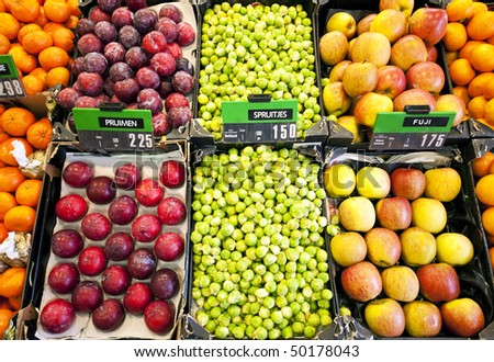Fresh fruit and vegetables at a greengrocer