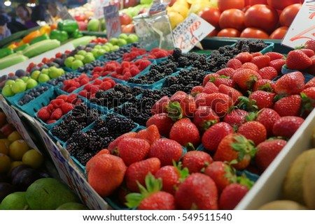 Fresh fruit at an indoor market stall.