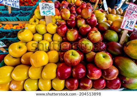 Fresh Fruit Being Sold in the Public Open Market - stock photo