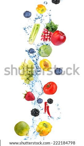 Fresh fruit, berries and vegetables with water splash, isolated on white - stock photo