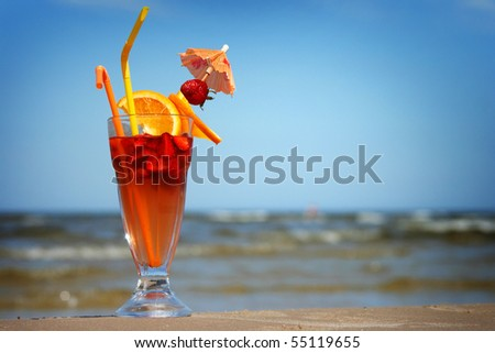 fresh fruit cocktail on the coast