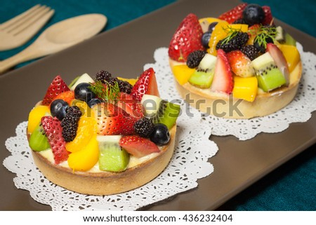 Fresh Fruit Custard Tart. - stock photo