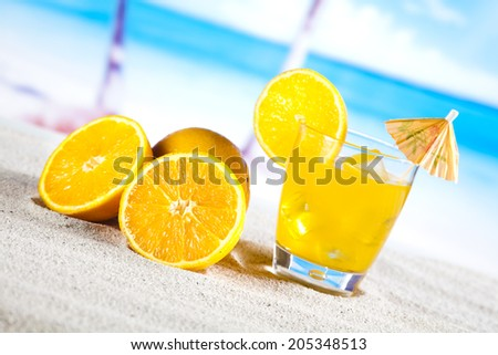 Fresh fruit drink on a beach