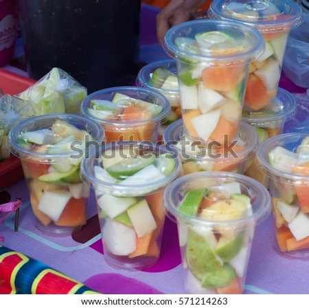 fresh fruit packaging local food terengganumalaysia stock