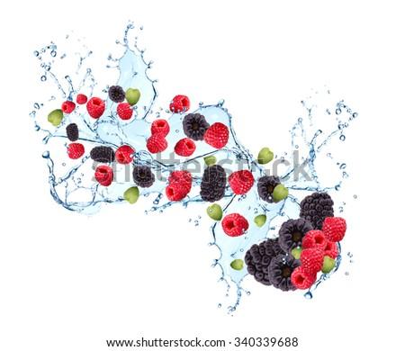 Fresh fruit in water splash, berry, raspberry and blackberry in motion, falling fruit in water  - stock photo