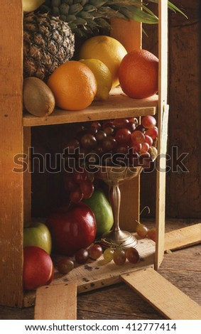 Fresh Fruit In Wooden Crate On End