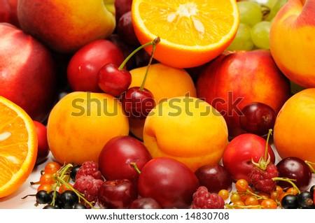 Fresh fruit isolated on a white background - stock photo