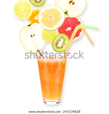 Fresh fruit juice in a glass and ripe fruits. Isolated on white background. Close-up. Studio photography