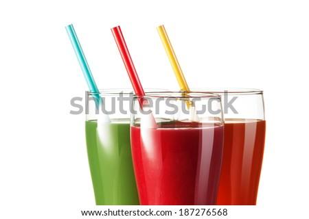Fresh fruit juices - stock photo