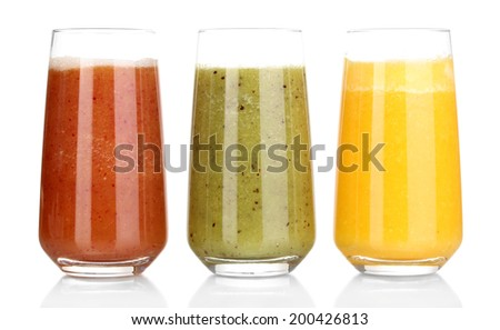 Fresh fruit juices isolated on white