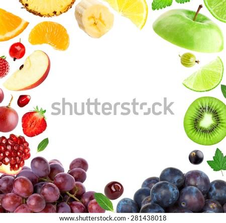 Fresh fruit. Mixed fruits. Fruit concept - stock photo
