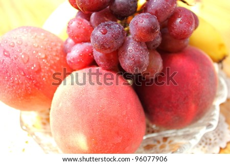 Fresh fruit on a glass platter