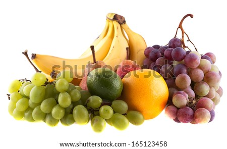 Fresh fruit on a white background - stock photo